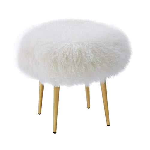 Jianghuayunchuanri Dressing Tafel Kruk Dressing Kruk Kunstmatige Bont Trim Ottomaanse Metalen Voetsteun Is Gemakkelijk te reinigen en installeren Piano Stoel Make-up Seat