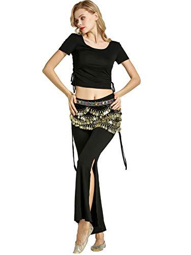 Zengbang Damen Hosen Bauchtanz Kostüm Halloween Bauchtanz Crop Top Training Tanzkleidung (Schwarz#1(2PCS), Asien M)