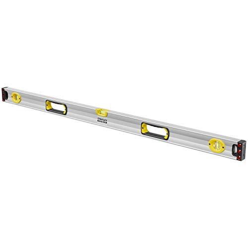 Stanley FatMax Wasserwaage II (120 cm, magnetisch, 1 horizontale/2 vertikale Libellen Hohlprofil Aluminiumkorpus) 1-43-549