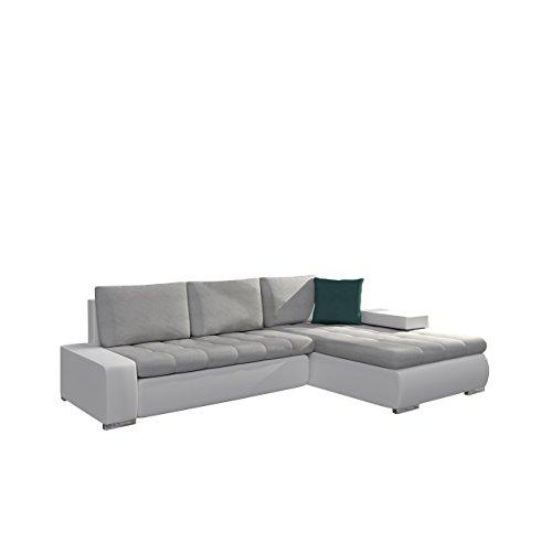 Elegante Sofa Orkan Mini mit Schlaffunktion und Bettfunktion, Eckcouch Ecksofa mit Bettkasten, Couch L-Sofa Große Farbauswahl, Beste Qualität (Ottomane Universal, Soft 017 + Enzo 162 + Enzo 155)
