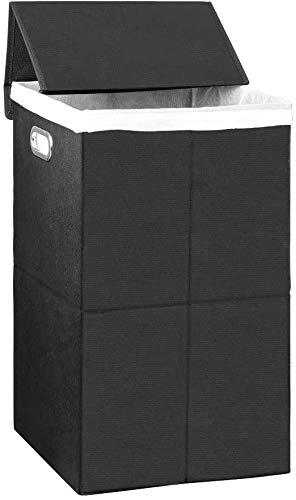 HAITRAL Wäschekorb mit Deckel, Faltbarer Wäschekörbe Wäschesammler Wäschesack Wäschebox für Bad Wäschekammer, Schwarz