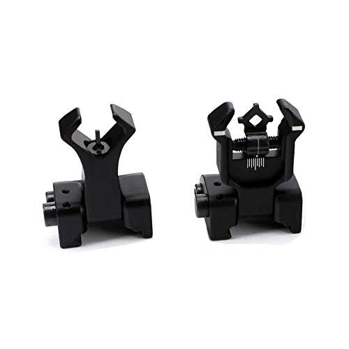 Aecktech Flip Up Backup Battle Sights Picatinny Mount Front & Rear Iron Sights Fits Picatinny & Weaver Rails Black (B1)