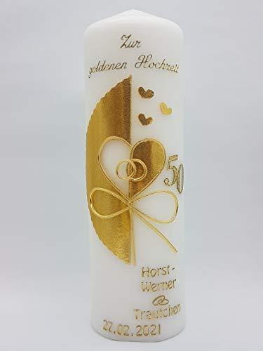 Kerze goldene Hochzeit mit Namen & Datum GH-21