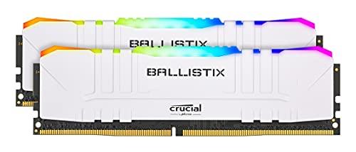 Crucial Ballistix BL2K16G32C16U4WL RGB, 3200 MHz, DDR4, DRAM, Mémoire Kit pour PC de Gamer, 32Go 16Go x2, CL16, White