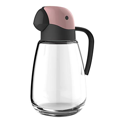 Tuksik Olive Oil Dispenser Bottle with Automatic Cap 27oz Glass Oil and Vinegar Dispenser Bottle for Kitchen,No Drip with Precise-Pour Spout Lovely Parrot Design (Pink)