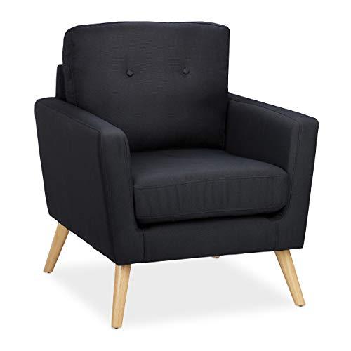 Relaxdays Retro Sessel, Holzbeine, Stoffbezug, Vintage Armsessel 50er & 60er Jahre, Wohnzimmer, HBT 88x74x77cm, schwarz