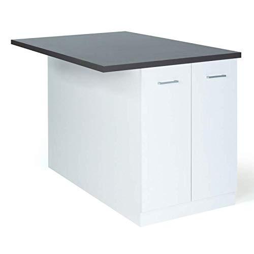 IDMarket - Ilot central IVO 120 cm blanc avec plan de travail gris anthracite