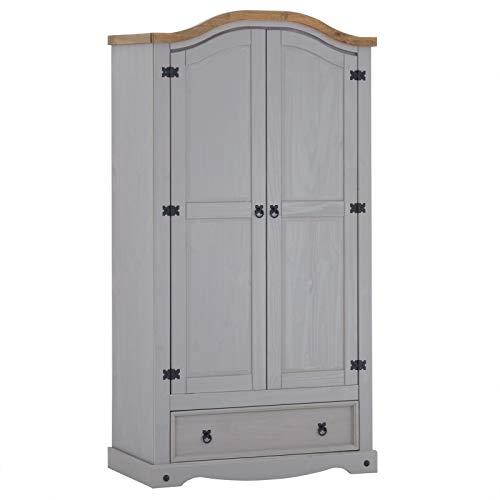 Kleiderschrank Ramon Garderobenschrank Mexiko Möbel Kiefer massiv,grau/gebeizt,gewachst, 2 Türen...