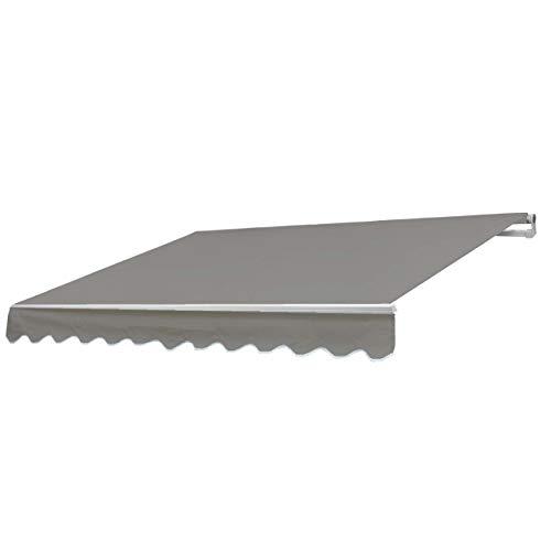 Mendler Alu-Markise HWC-E49, Gelenkarmmarkise Sonnenschutz 2,5x2m ~ Polyester, grau-braun