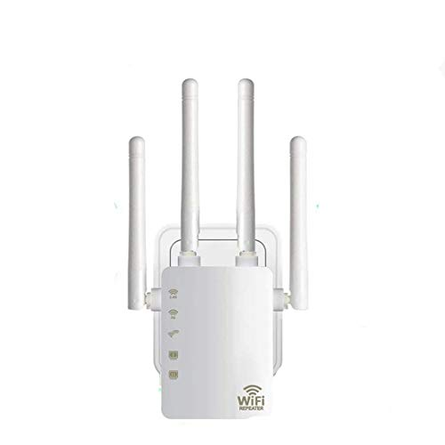 Carantee WiFi Range Extender, 1200Mbps Wireless Signal Repeater Booster, Dual Band 2.4G and 5G Expander, 4 Antennas 360°Full Coverage, Extend WiFi Signal to Smart Home & Alexa Devices(WZ1200M)
