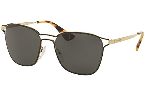 Prada PR54TS Sonnenbrillen Schwarz Pale Gold Mit Grauen Gläsern 55mm 1AB5S0 SPR54T PR 54TS SPR 54T