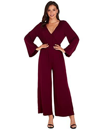 VONDA Damen Jumpsuit Langarm Jumpsuits V-Ausschnitt Overalls Hohe Taille Rückenfrei Herbst Playsuit A-Wein Rot XL