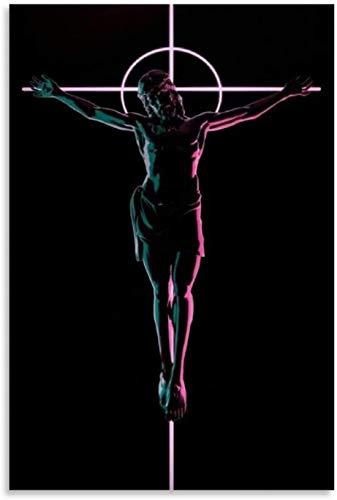 El Dios en la cruz Viernes Santo Jesús Posters Póster Pintura decorativa Lienzo Arte de la pared Carteles de sala de estar Pintura del dormitorio 20x30 pulgadas (50x75cm BC14