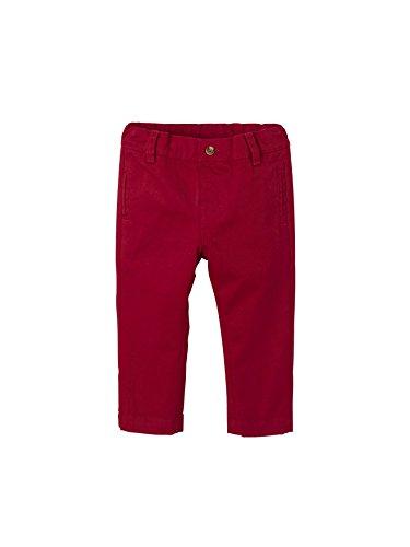 Vertbaudet - Pantalón de bebé para niño (tela forrada + cinturón) Rouge Brique 60 cm (3 meses)