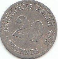 Deutsches Reich Jägernr: 5 1876 D sehr schön Silber sehr schön 1876 20 Pfennig Kleiner Reichsadler (Münzen für Sammler)
