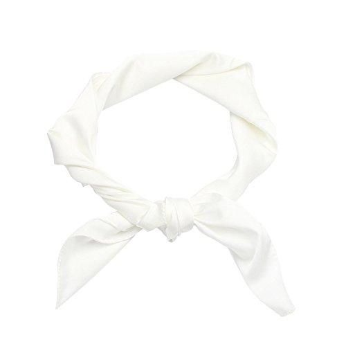 Demarkt Klein Seiden Tuch Schal Seide Halstuch leichter Schlauchschal Damenschal Weiss