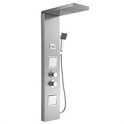 Duschsysteme, Edelstahl Gebürstet Duschpaneel mit LCD-Anzeige, Edelstahl Gebürstet Duschpaneel mit Thermostat und 3 Wasserauslässe, 3/8 Zoll