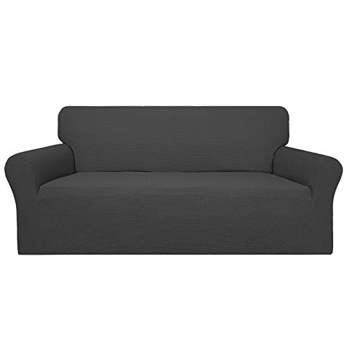Easy-Going 100% Waterproof Couch Cover, Dual Waterproof Sofa Cover, Stretch Jacquard Sofa Slipcover, Leakproof Furniture Protector for Kids, Pets, Dog and Cat (Sofa, Dark Gray)