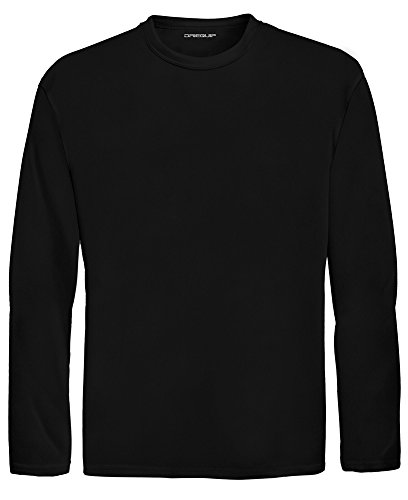 DRI-EQUIP Youth Long Sleeve Moisture Wicking Athletic Shirts. Youth Sizes XS-XL, Black, Small