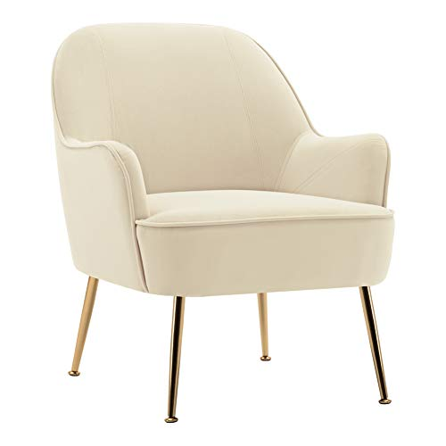 Warmiehomy Occasional Velvet Armchair Upholstered Lounge Tub Chair with Solid Legs for Living Room Bedroom Office Lounge Reception Cafe (Cream)