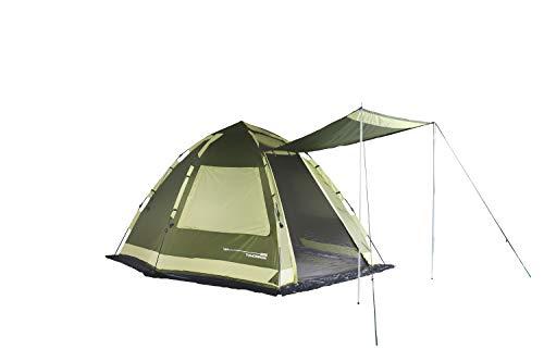 Lumaland Where Tomorrow Familienzelt 4-Personen Zelt mit Sonnendach - 340x280x185 cm - Pop Up Wurfzelt - ideal für Camping Festival etc. - wasserdicht, robust, Quick-Up-System Grün