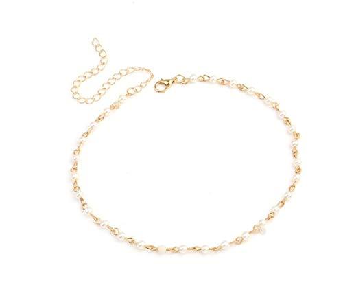 NO LOGO Verrückte Feng Art und Weise simulierte Perlen-Halskette for Frauen-Silber-Farben-Ketten-Halskette Statement Schmuck-Partei-Geschenk (Color : 4)