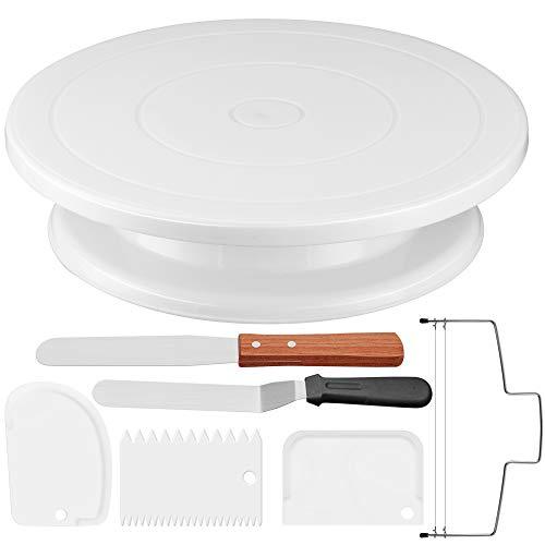 Puroma - Plato giratorio para tartas de 28 cm con 3 piezas, espátula recta y compensada y niveladora de tartas para decoración de pasteles, pasteles y cupcakes