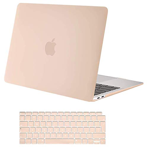 MOSISO MacBook Air 13 Case 2020 2019 2018 Release A2179 A1932 with Retina Display, Plastic Hard Case Cover Shell & Keyboard Skin Cover Only Compatible with MacBook Air 13 with Touch ID, Camel