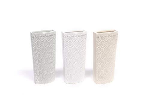 CLICSON ME30183 Set 3pz Evaporatore in Ceramica Rettangolari Decorazione Floreale in Rilievo H18x8x4cm Assortiti