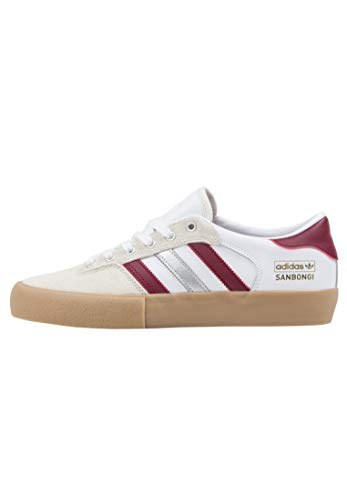 adidas Skateboarding Matchbreak Super X Shin, Footwear White-Collegiate Burgundy-Gum, 7