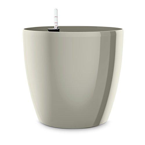 EMSA Vase à Auto-arrosage pour l'intérieur et l'extérieur - CASA Brilliant Ø 25 cm Gris satiné Brillant.