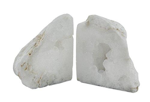 Sujetalibros de piedra decorativa (blanca Natural geoda pulido cristal de cuarzo sujetalibros 4–7libras 3,5x 4,5x 3,5cm blanco modelo # 40068