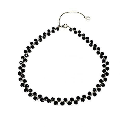 N/A Collar Collar De Cristal Negro De Moda De Corea, Cadena De Clavícula, Collar Pequeño para Mujer, Collar De Viento Frío Regalo Parejas Y Amigos