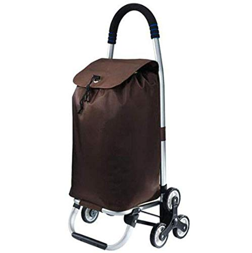 QXTT Shopping Trolley Lightweight AluminumAlloy Easy To Fold 2 In 1 Easy To Carry Shopping Cart 35L Large Capacity For The Elderly And Children To Buy Food,Brown