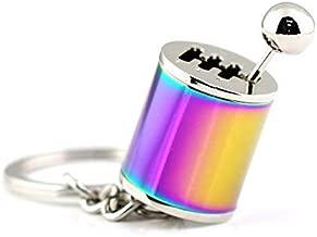 Ispeedytech Creative Auto Part Model Gear Box Metal Keychain Six-Speed Manual Transmission Shift Lever Keyring Key Chain Ring Keyrings Keyfob As a Gift