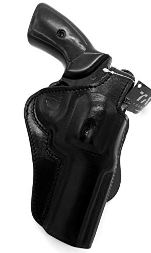HOLSTERMART USA TAGUA Premium Deluxe Right Hand Rotating Paddle and Belt Holster with Reinforced Thumb Break in Black Leather for Smith & Wesson S&W L-Frame Revolver 4' Barrel