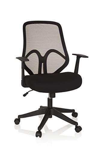 hjh OFFICE 750000 Bürodrehstuhl AMIKO Schwarz Stoff/Netz Home-Office Schreibtischstuhl mit Netzrücken