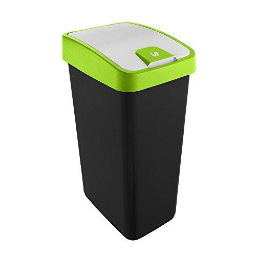 keeeper Premium Abfallbehälter mit Flip-Deckel, Soft Touch, 45 l, Magne, Grün