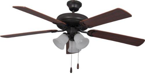 "Craftmade DCF52FBZ5C3 Decorator Choice Dual Mount 52"" Ceiling Fan with 180 Watts Light Kit, 5 MDF Blades, Bronze"