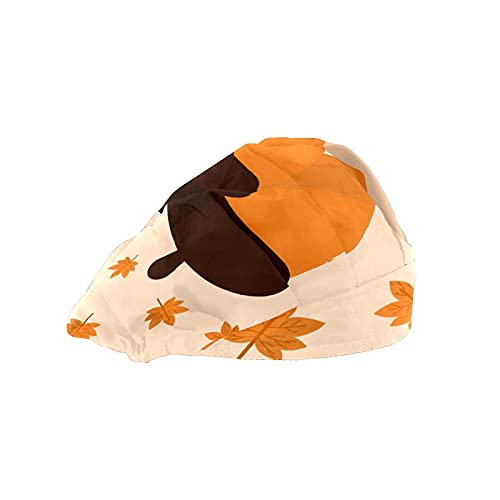 Gorra de mujer para cabello largo con banda elástica ajustable para el sudor Gorras de trabajo para hombres bufanda de cabeza impresa 3D sombreros bellotas hojas de arce