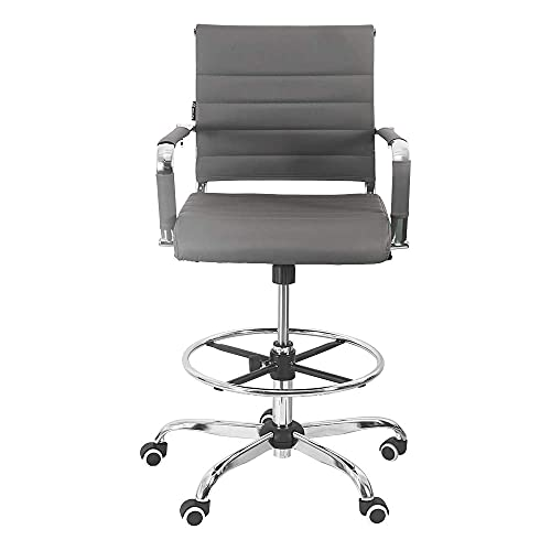New Drafting Chair - Ergonomic Mid Back Ribbed Leather Office Chair...