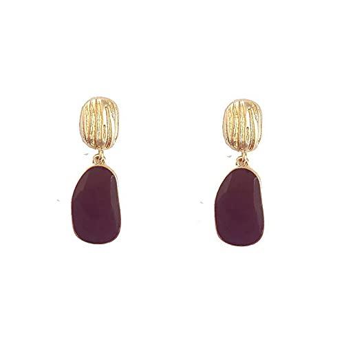 Pendientes de aguja de plata S925 pendientes ovalados irregulares de color rojo vino retro para mujer pendientes de temperamento geométrico