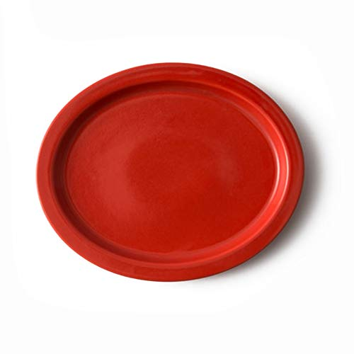 Ergonomic Plate - Red, Japanese Pottery, Hasami Ware, Porcelain, Easy to Hold
