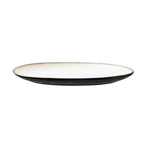 BITZ - Dish - Teller/Platte - Steingut - oval - grau/Cream - 36 x 25cm