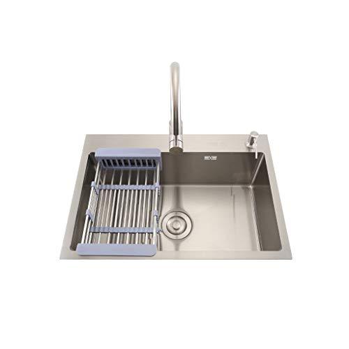 Waschtischarmaturen 750mm * 450mm Kitchen Sink Einzel Bowl Einbaubecken Edelstahl Waschtische Mit Verstellbarem Tablett