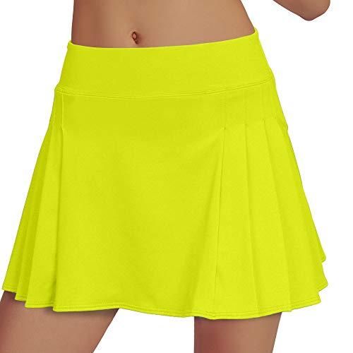 RainbowTree Women's Tennis Skirt Golf Skort Pleated with Side Inner Pockets Indoor Exercise,Runs Small (Yellow, M)