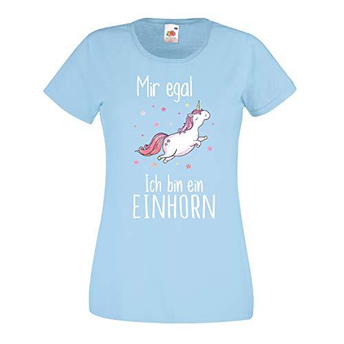 Shirt-Panda Damen Mädchen Einhorn T-Shirt · Mir egal ich Bin EIN Einhorn · Unicorn Shirt · Regenbogen Girl Spruch · Fun Ladyfit Tshirt · Rainbow Pony · Sky Blue S