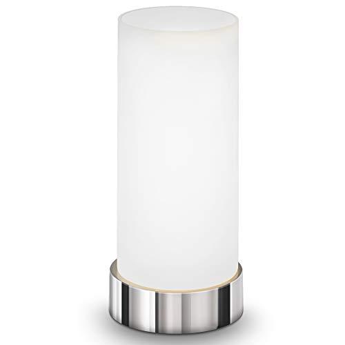 B.K.Licht Lámpara de mesa táctil máx. 40 W E14, Altura 245 mm Ø11cm, 4 niveles de luminosidad, Lamparilla de noche moderna, Color blanco, IP20