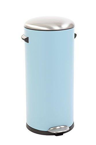 EKO Belle Deluxe Poubelle à Pédale Métal Bleu 38 x 33,8 x 66 cm 30 litres