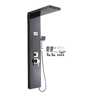 Zerone Panel de Ducha Termostático, Columna de Ducha de Acero Inoxidable con Pantalla LCD y 3 Salidas de Agua para Baño